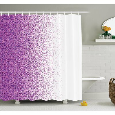 Computer Art Style Tile Mosaic Squared Complex Pixel Party Mix Art Concept Shower Curtain Set Size: 84 H x 69 W