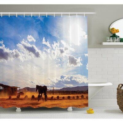 Western Horse in Monument Valley Open Sky with Clouds in Arizona America Landscape Shower Curtain Set Size: 75 H x 69 W