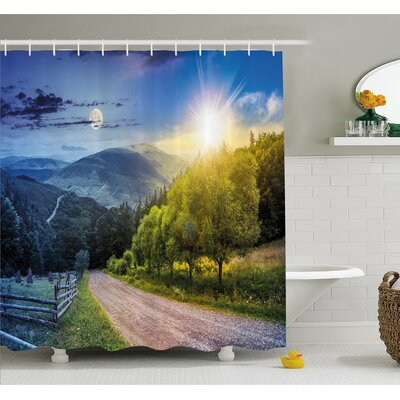 Farm House Day and Night Collage View with Moon and Sun Horizon Countryside Hillside Shower Curtain Set Size: 70 H x 69 W
