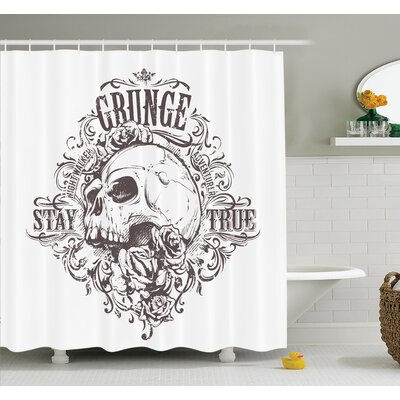 Nathanael Skull Rose Grunge Shower Curtain Set Size: 75 H x 69 W