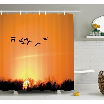 Carylon Bird Migration Sunset Shower Curtain Set Size: 84 H x 69 W