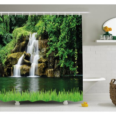 Waterfall Double Flow to Natural Lake with Bushes and Grass like Garden Shower Curtain Set Size: 70 H x 69 W