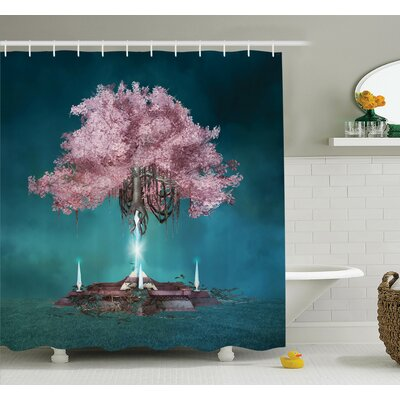 Tree Magical Blossom Art Shower Curtain Set Size: 84 H x 69 W