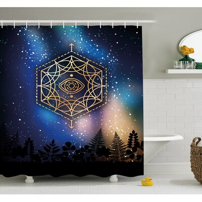 Hexagon Form with Eye Icon in Centre on Starry Night Mystic Image Shower Curtain Set Size: 70 H x 69 W
