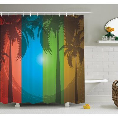 Tropical Palm Trees Bohemian Shower Curtain Set Size: 75