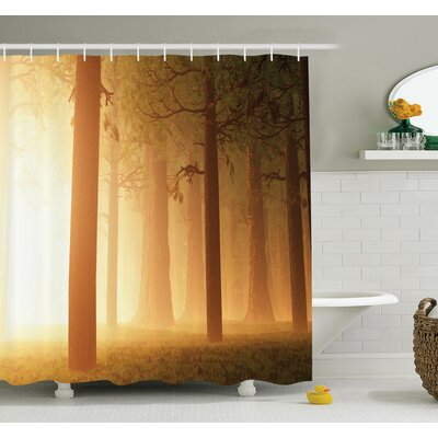 Foggy Hazy Woodland Shower Curtain Set Size: 84 H x 69 W