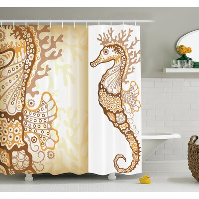 Animal Seahorse Figure Marine Fishes Exotic Ocean Underwater World Illustration Shower Curtain Set Size: 75 H x 69 W