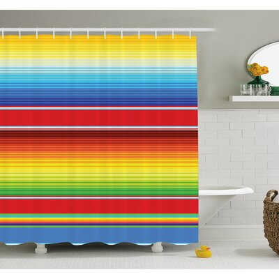 Mexican Horizontal Colored Ethnic Blanket Rug Lines Pattern Bright Decorative Design Shower Curtain Set Size: 84 H x 69 W