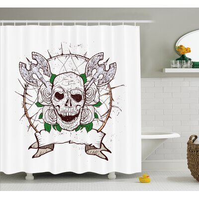 Skull Figure with Nose and Cross Axes Grunge Christmas Icon Scary Design Shower Curtain Set Size: 70 H x 69 W