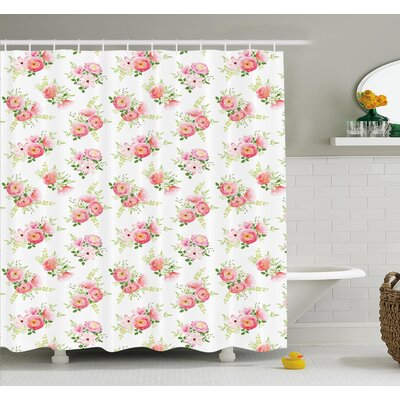 Nostalgic Elegance Themed Bunch of Magnolia Buds Rococo Poetic Fresh Nature Art Shower Curtain Set Size: 84 H x 69 W
