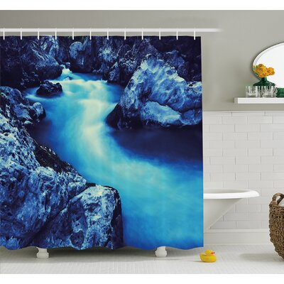 Waterfall Frozen Dangerous Lake with Atmosphere of a Cave and Snow on the Rocks Shower Curtain Set Size: 84 H x 69 W