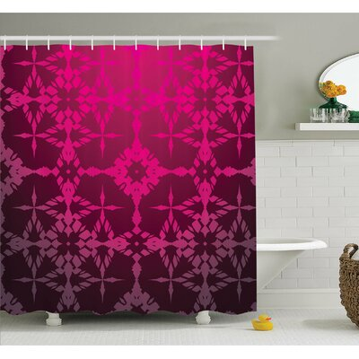 Victorian Stylized Classical Bound Ornamental Mosaic Patterns Nostalgic Design Shower Curtain Set Size: 84 H x 69 W
