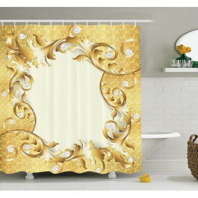 Golden Floral Ornament Shower Curtain Set Size: 75 H x 69 W