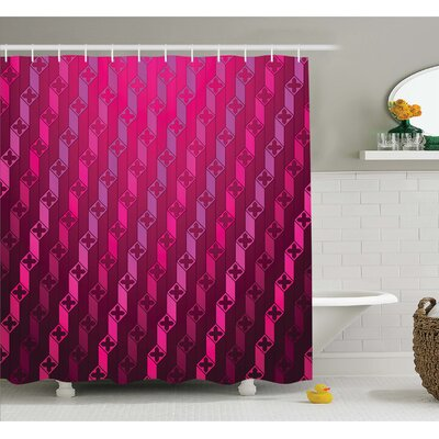Abstract Stripe Psychedelic Motif Fashion Gradient Retro Structured Grid Art Shower Curtain Set Size: 75 H x 69 W