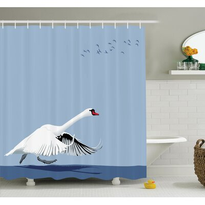 Swan Wildlife Animal Shower Curtain Set Size: 70 H x 69 W