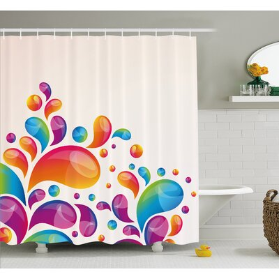 Cute Raindrops in Different Sizes in Gradient Colors Abstract Splash Style Shower Curtain Set Size: 75 H x 69 W