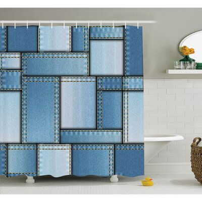 Farm House Patchwork of Different Size Denim Fabric Pattern with Vertical Warp Beam Artprint Shower Curtain Set Size: 70 H x 69 W