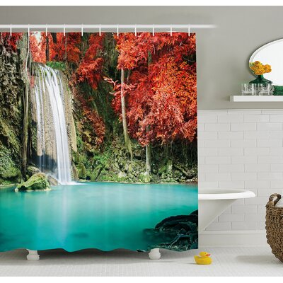 Waterfall Single in Corner of the Deep Forest with Fair Fall Oak Trees Shower Curtain Set Size: 70 H x 69 W