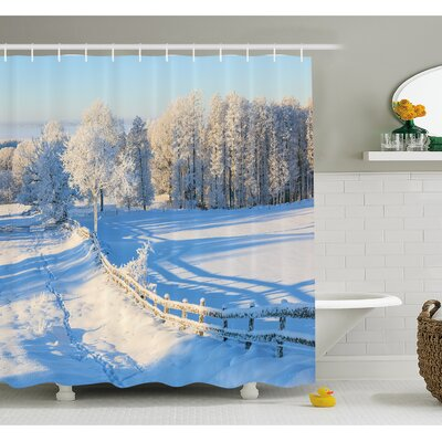 Farm House Winter Snow Valley with Oak Borders Pines Frozen Pastoral High Cold Lands  Shower Curtain Set Size: 84 H x 69 W