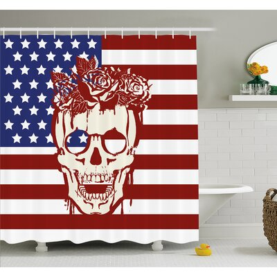 Skull Dead Facial with a Wreath on Head USA Symbol Stars Humor Illustration Shower Curtain Set Size: 70 H x 69 W