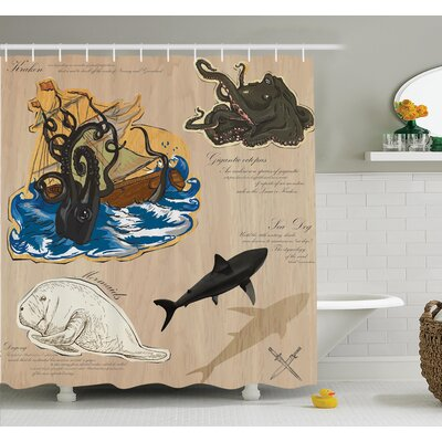 Nautical Sea Monsters Pirate Shower Curtain Set Size: 84 H x 69 W