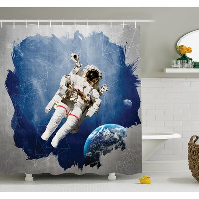Outer Space Astronaut on Grunge Half Done with Geometric Brushstroke Sci-Fi Modern Art Shower Curtain Set Size: 75 H x 69 W