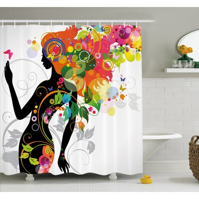 Butterfly Modern Version with Spring Spiral Circles Leaf Botany Shower Curtain Set Size: 70 H x 69 W
