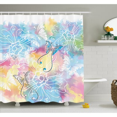 Romantic Brushstroke Backdrop with Haze Blur Splash Features and Moth Antler Shower Curtain Set Size: 70 H x 69 W