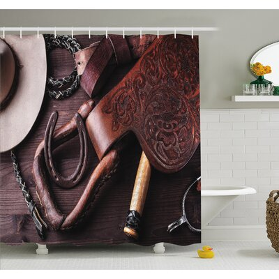Western Clothes and Accessories for Horse Riding with Kitsch Details Rural Sports Themed Shower Curtain Set Size: 70 H x 69 W