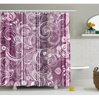 Flowers Leaves Retro Shower Curtain Set Size: 84 H x 69 W