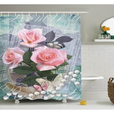 Floral Vintage Rose Romance Shower Curtain Set Size: 75 H x 69 W