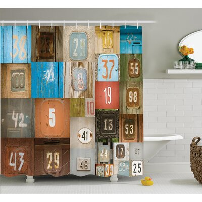 Nostalgic Door Numbers Shower Curtain Set Size: 70 H x 69 W