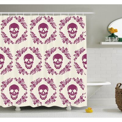 Skull Decorative Monochrome Calavera Surround by Circle Wreath Print Shower Curtain Set Size: 84 H x 69 W