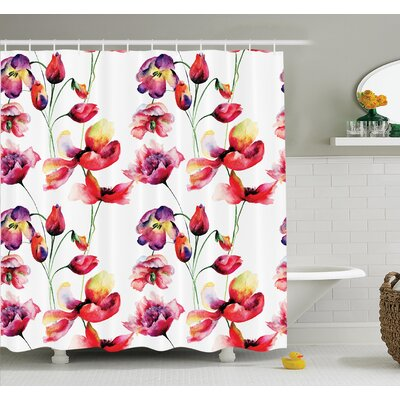 Floral Blooming Tulip Poppy Shower Curtain Set Size: 75 H x 69 W