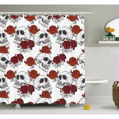 Skull Retro Gothic Dead Skeleton Figures with Rose Halloween Spooky Trippy Romantic Shower Curtain Set Size: 84 H x 69 W