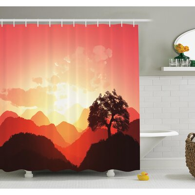 Nature Sunset Tree Mountains Shower Curtain Set Size: 70 H x 69 W