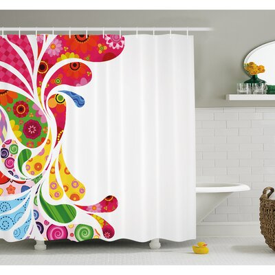 Paisley Leaves with Floral Elements Inside Carnival Inspired Retro Design Shower Curtain Set Size: 84