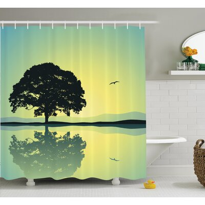 Tree Reflections on Water Sun Shower Curtain Set Size: 75 H x 69 W