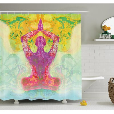 Yoga Figure in Meditation Shower Curtain Set Size: 84 H x 69 W