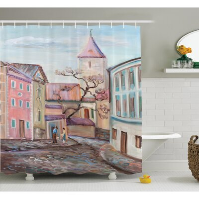 Watercolor Effect Town Shower Curtain Set Size: 84 H x 69 W