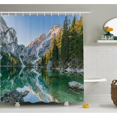 Nature Fall View Lake Mountain Shower Curtain Set Size: 84 H x 69 W