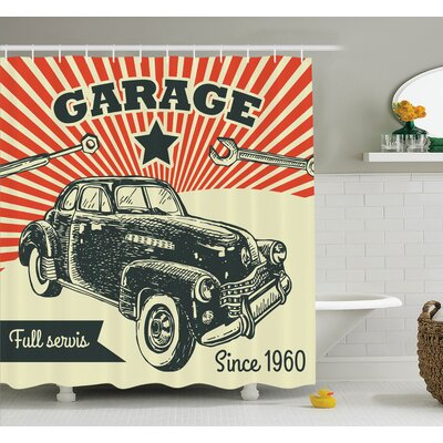 60s Retro Car Pop Art Shower Curtain Set Size: 75 H x 69 W