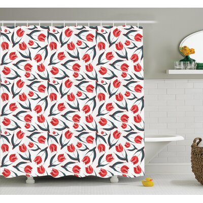 Vintage Inspired Tulips Shower Curtain Set Size: 75 H x 69 W
