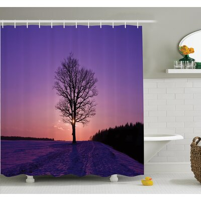 Tree Oak Sunset Wintertime Shower Curtain Set Size: 84 H x 69 W