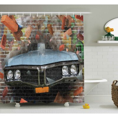 Ervin Graffiti Style Street Art Shower Curtain Set Size: 84 H x 69 W
