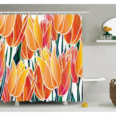 Floral Tulip Garden Shower Curtain Set Size: 75 H x 69 W