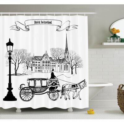 Sketch Street in Zurich Retro Shower Curtain Set Size: 75 H x 69 W