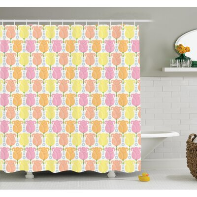 Rob Cartoon Tulip Flowers Shower Curtain Set Size: 84 H x 69 W