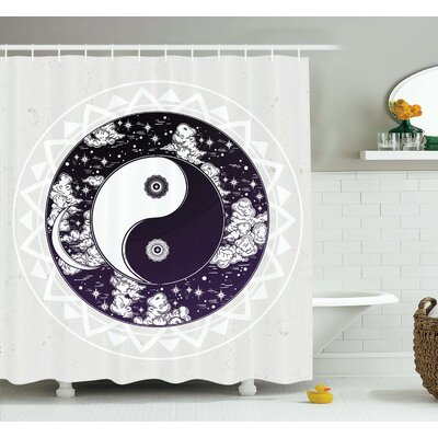 Alia Ying Yang Symbol Boho Art Shower Curtain Set Size: 70 H x 69 W