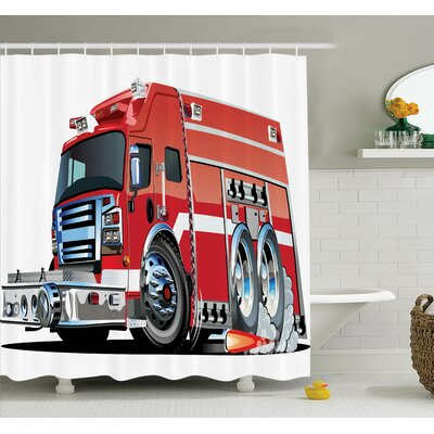 Myaa Fire Truck Rescue Team Shower Curtain Set Size: 70 H x 69 W